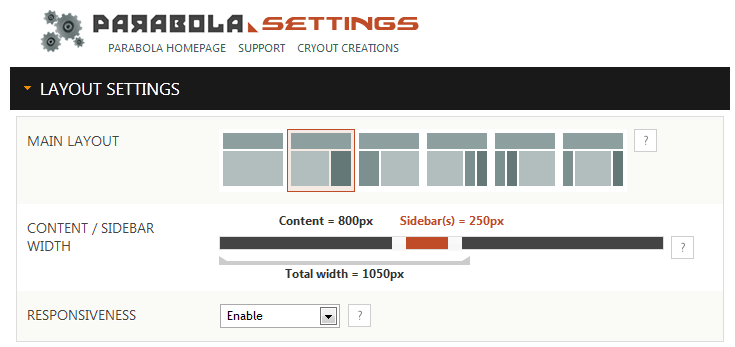 Advanced layout and site width settings