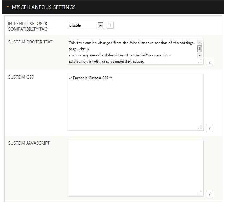 Custom CSS, custom Javascript, custom footer text