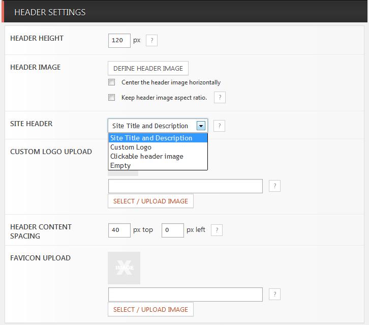 Header configuration - site title / logo upload / header link / favicon uploader